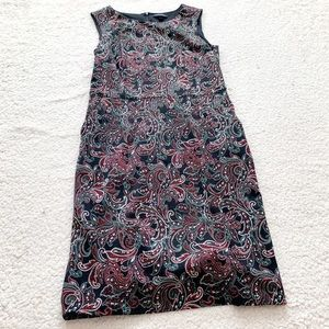 Lands end green red paisley sleeveless holiday dre